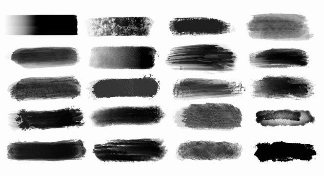 Black grunge stroke brush set for your design, vector...