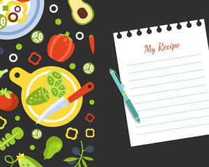 My Recipe Blank Card Template with Fresh Vegetables Pattern, Vegetarian Cookbook Page Vector Illustration