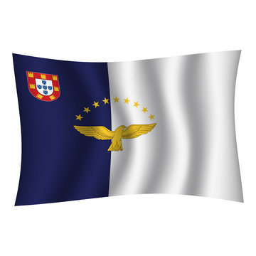 Azores flag background with cloth texture. Azores Flag vector illustration eps10. - Vector