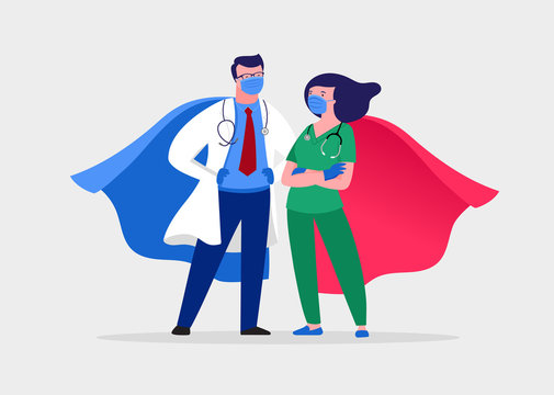 Super doctor and nurse wearing medical masks and capes, superhero couple, vector cartoon illustration