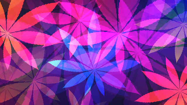 Cannabis background. Vector illustration of glowing neon colored abstract cannabis
