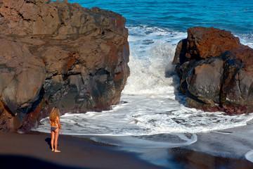 spain, canary islands, tenerife : bollulo beach
