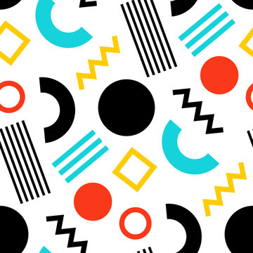 Seamless pattern of  bright, abstract geometric shapes