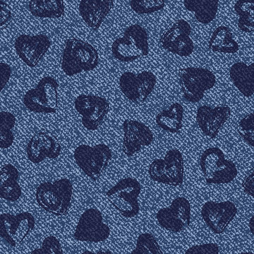 Vector Denim seamless pattern. Jeans background with hearts. Blue jeans cloth. Valentine's Day