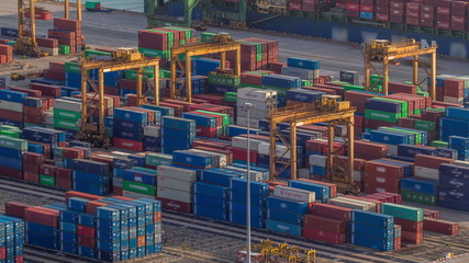 Commercial port of Singapore aerial timelapse. Fotobehang