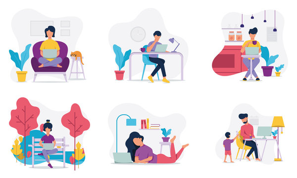 Freelance people work in comfortable conditions set vector flat illustration. Freelancer character working from home or work in the park with ease. man and woman freelancers working at home.