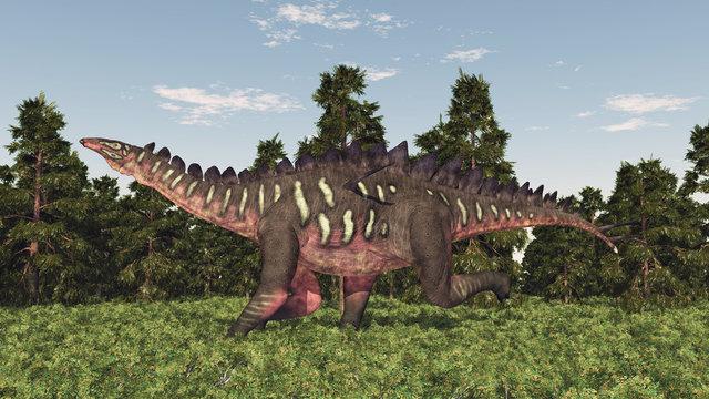 Dinosaurier Miragaia in einem Wald