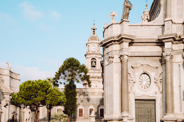Bell tower of Catania baroque cathedral of Sant'Agata in Sicily, Italy