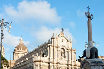 Catania baroque cathedral of Sant'Agata and elephant fountain in Sicily, Italy