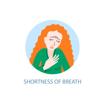 shortness of breath - symptom of coronavirus, hand drawing icon, sick girl with red hair tries to breathe
