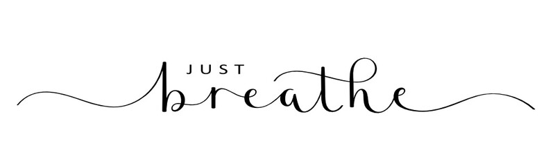 JUST BREATHE vector brush calligraphy banner with swashes Fotobehang