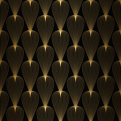 Art Deco Pattern. Seamless white and gold background - 334961821