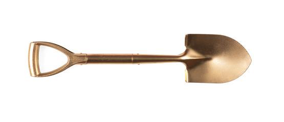 Fototapeta golden shovel isolated on white background