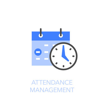 Attendance management symbol with a calendar and a clock. Easy to use for your website or presentation.
