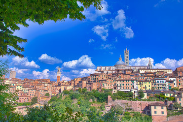 Beautiful panoramic view of the historic city of Siena, Italy.
