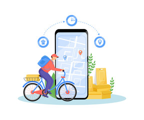 Food delivery service flat concept vector illustration. Deliveryman riding bike, fast food courier on bicycle 2D cartoon character for web design. Takeaway eating online order creative idea