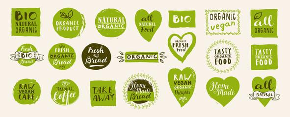 Set of take away bio, vegan, organic, fresh, raw, tasty natural food labels. Hand drawn home delivery logo templates Fototapete