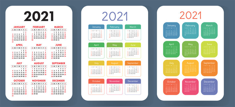 Calendar 2021 set. Vector calender template collection. Simple design. Week starts on Sunday. January, February, March, April, May, June, July, August, September, October, November, December