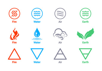 Four elements of nature Air, fire, water, earth. Elements of the nature - Earth, Water, Air and Fire, Natural concept. Vector logo template. Concept for nature energy, synergy, tourism, travel