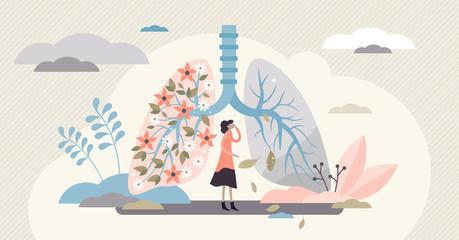 Fototapeta Lung health vector illustration. Covid-19 artistic flat tiny persons concept. obraz