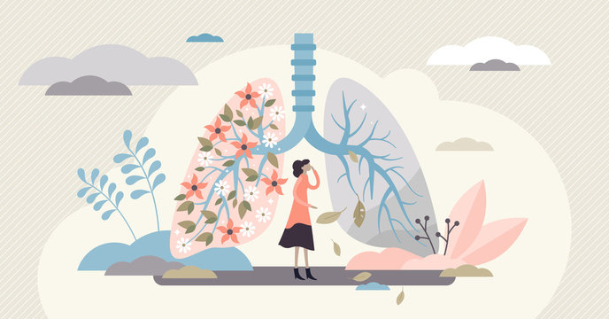 Lung health vector illustration. Covid-19 artistic flat tiny persons concept.
