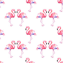 Canvas Prints Flamingo Watercolor pattern of pink flamingo