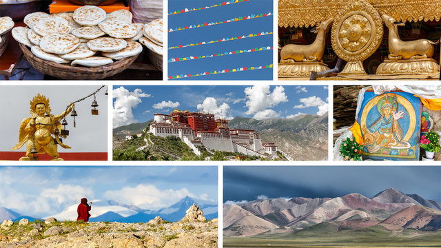 Tibet, China - July 2017: Highlights of Tibet - Photo Collage. Incl. Potala Palace, the dharma wheel on top of the Jokhang Temple, Tibetan artwork, a buddhist pilgrim & mountains near Nam Tso Lake.