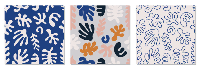Trendy set of seamless pattern with abstract organic cut out Matisse inspired shapes in neutral colors Fotomurales