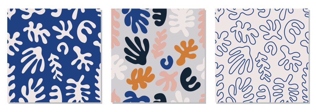 Trendy set of seamless pattern with abstract organic cut out Matisse inspired shapes in neutral colors
