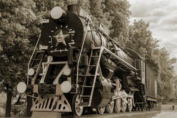 The locomotive-monument L-3291. Powerful, beautiful Russian locomotive