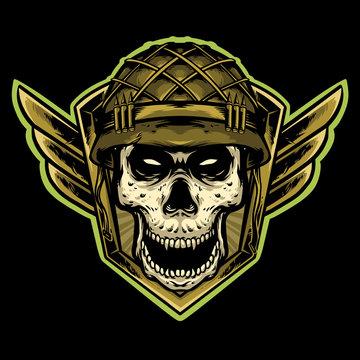 skull army with helmet logo design mascot