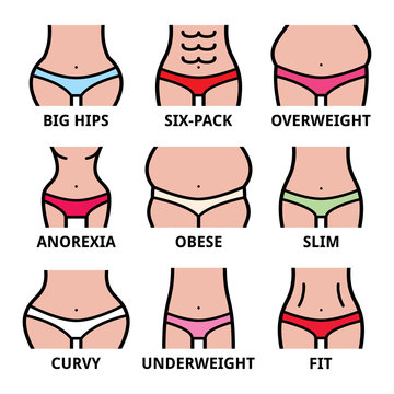 Women's body type, different size, body shapes vector icons set isolated on white