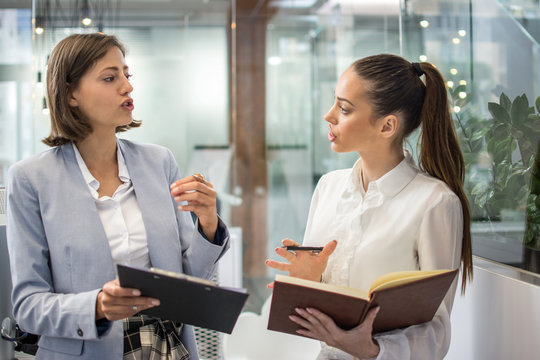 Business women arguing about documents in a office