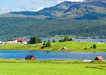 Tuinposter Lime groen Rural landscape in Norway.