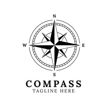 Illustration compass logo design template