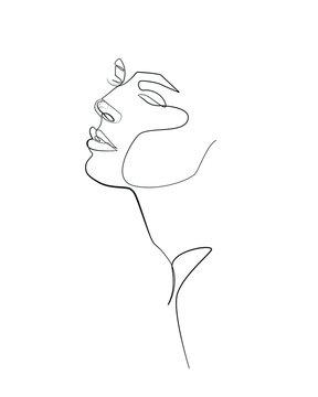 woman face one line art