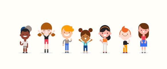 Smiling kids character in flat design style isolated. Diversity children cartoon vector illustration. Papier Peint