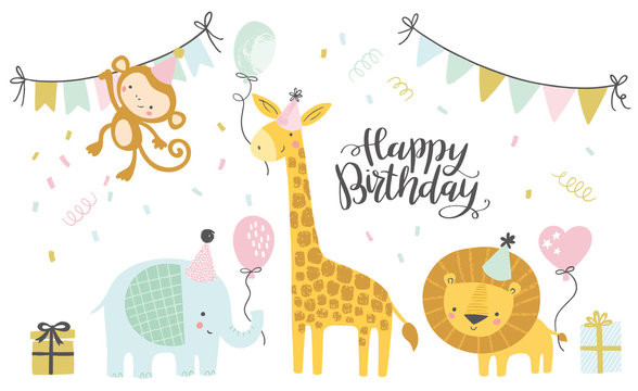 Birthday vector illustrations. Set of cute cartoon jungle birthday animals illustration for greeting, invitation kids birthday card design