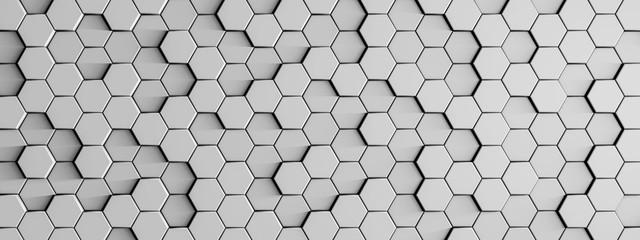 Trojwymiarowe tło z kostek sześciokątnych w szarym kolorze - 3d rendering