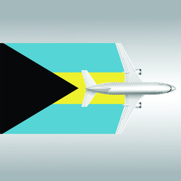 Plane and flag of Bahamas. Travel concept for design