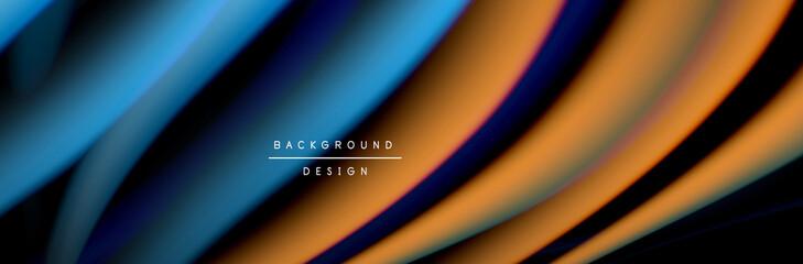 Fototapete - Сolorful flow poster. Wave liquid lines and shapes in black color background. Vector Illustration