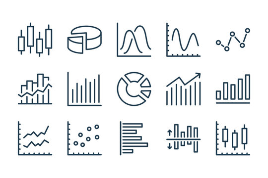Graph and Chart related line icons. Statistics and analytics vector icon set.