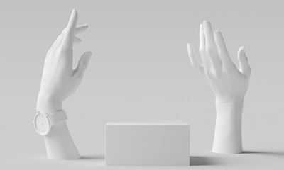 Elegant female hand gesture white sculpture, woman accessories art jewelry background, mannequin hands and product display podium, 3d rendering Fotobehang