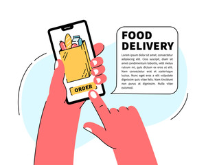 Hand holding mobile smart phone with food delivery service mobile application. Order grocery online. Fast delivery. Supermarket online shopping.