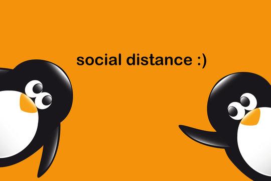 social distance funny penguins cartoon on orange background vector illustration EPS10