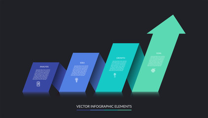 Vector infographic growth concept with 4 steps. Can be used for web design, timeline, diagram, graph, chart, business presentation.