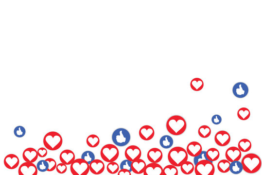 Social network marketing like and heart icon. Application social media background advertising. Internet, bigdata.