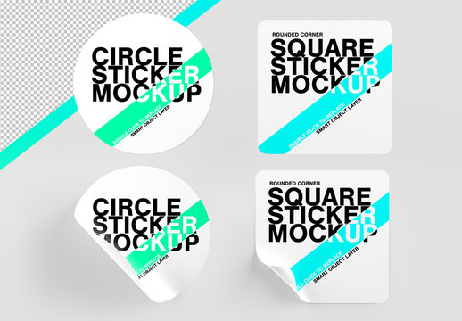 Mock Up of Circle and Rounded Corner Square Stickers