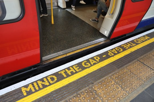 LONDON, UK - JULY 13, 2019: Mind The Gap warning atLondon Underground station. London Underground is the 11th busiest metro system worldwide with 1.1 billion annual rides.