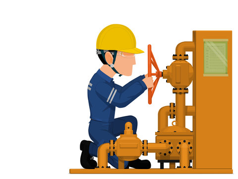An industrial worker is operating petrochemical valve on white background